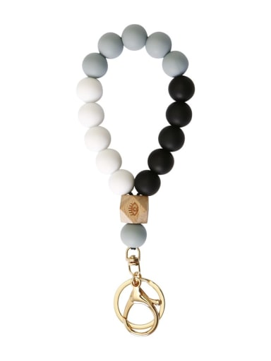 grey Silicone Beads + Skull / leopard Beech Bracelet /Key Chain