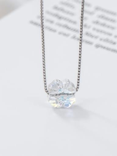Clover crystal 925 Sterling Silver Swarovski Crystal Multi Color Geometric Minimalist Necklace