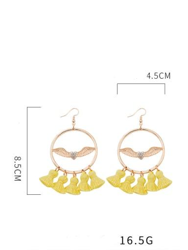 E68207 Alloy Cotton Wing Bohemia Hand-Woven Drop Earring