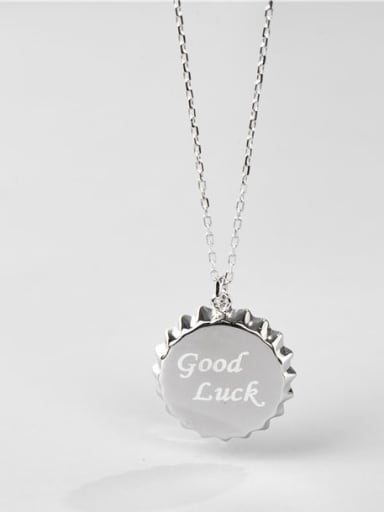 """925 Sterling Silver Round Letter"""" GOOD LUCK"""" Minimalist Necklace"""