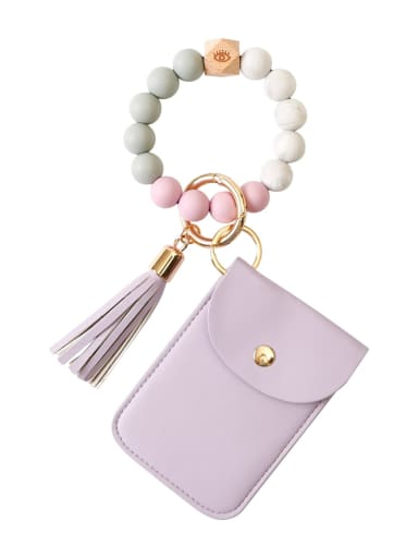 Purple k68326 Alloy Silicone Beads Leather Coin Purse Bracelet /Key Chain