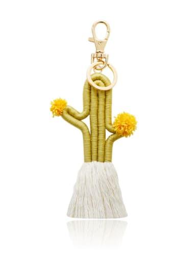 K68234 1 Alloy Cotton Cactus Cute Hand-Woven Key Chain/ Bag Pendant