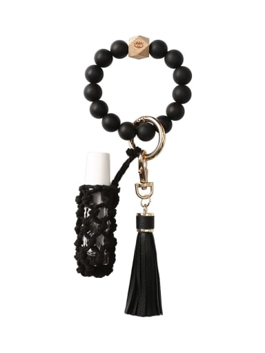 Black Silicone beads + perfume bottle+hand-woven key chain/bracelet