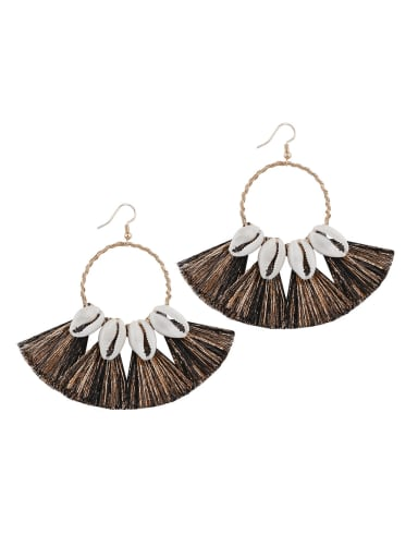 Alloy Cotton Tassel Bohemia Hand-woven Drop Earring