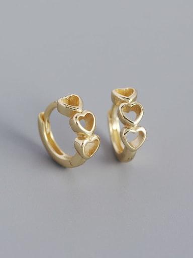 Gold 925 Sterling Silver Heart Minimalist Huggie Earring