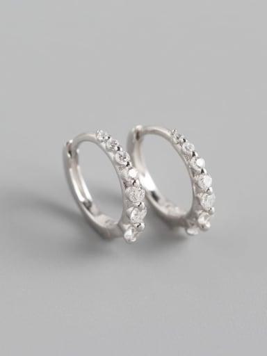 1#Platinum (White Stone) 925 Sterling Silver Cubic Zirconia Multi Color Geometric Minimalist Huggie Earring