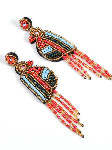 Non-woven fabric Bead Tassel Bohemia Hand Weave Threader Earring