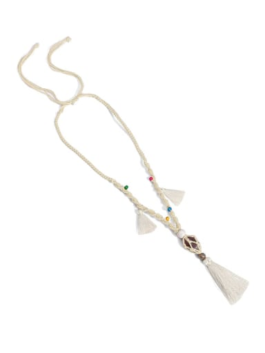 Off white n70247 Bead Cotton Rope  Natural stone Tassel Artisan Hand-Woven Long Strand Necklace