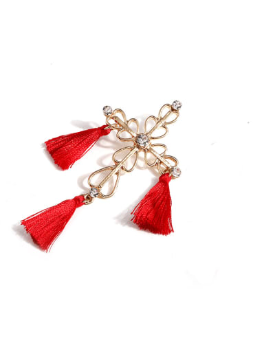 Red e68264 Stainless steel Cotton Tassel Bohemia Hand-Woven Drop Earring