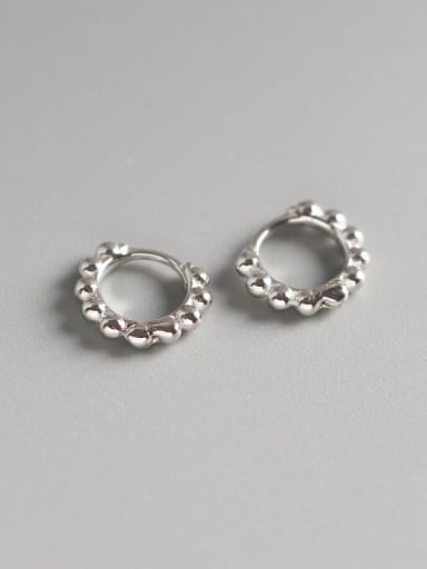 1#Small platinum 925 Sterling Silver Geometric Minimalist Huggie Earring