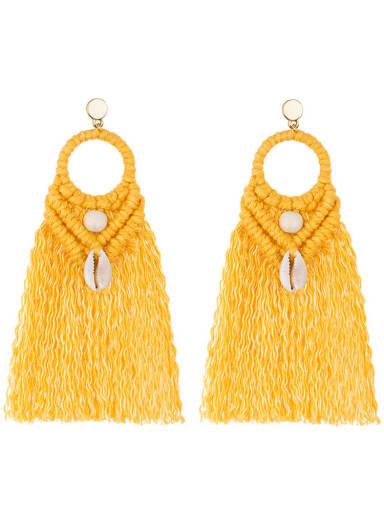 E68742 yellow Alloy Shell Cotton Tassel Bohemia  Hand-woven  Drop Earring