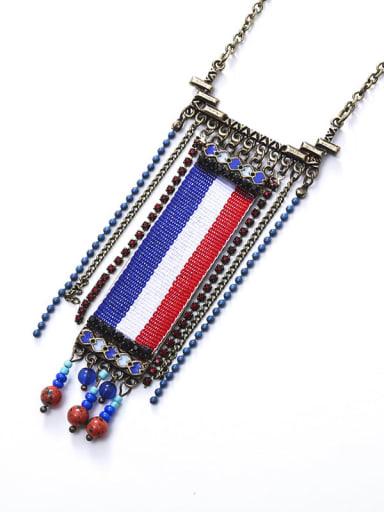 Alloy Rhinestone Beads  Fabric Geometric Ethnic Hand-Woven Long Strand Necklace