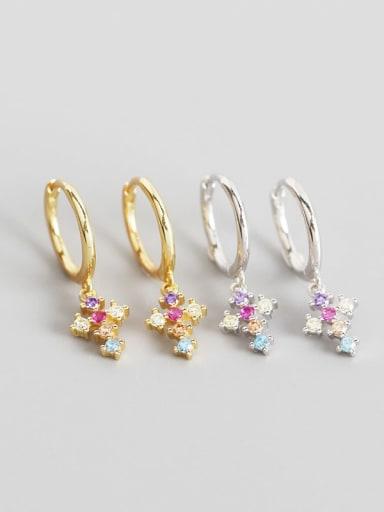 925 Sterling Silver Cubic Zirconia Multi Color Cross Trend Huggie Earring
