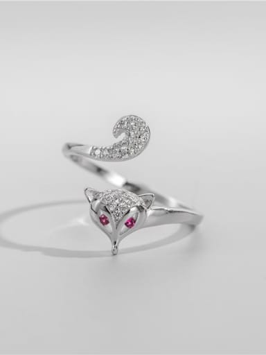 925 Sterling Silver Cubic Zirconia Fox Cute Band Ring