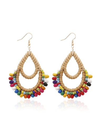 Bead Multi Color Water Drop Bohemia Hand-woven Drop Earring