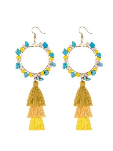 Yellow e68744 Alloy Bead Cotton Turquoise Tassel Bohemia  Hand-Woven Drop Earring