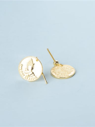 Gold 925 Sterling Silver Round Prayer Hand  Vintage Drop Earring