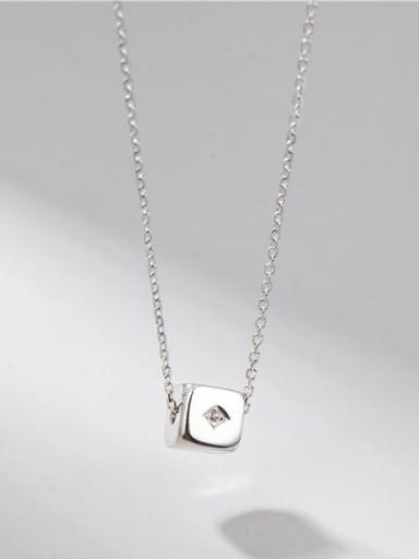 925 Sterling Silver Rhinestone Square Minimalist Necklace