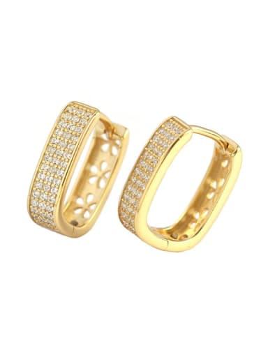 Gold 925 Sterling Silver Cubic Zirconia Geometric Minimalist Huggie Earring
