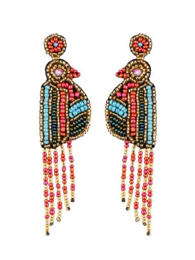 red  E68694 Non-woven fabric Bead Tassel Bohemia Hand Weave Threader Earring