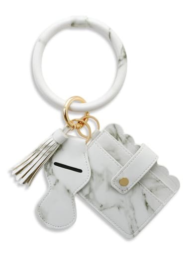 Marble white k68216 Alloy Leather Leopard Card package Hand Ring Key Chain
