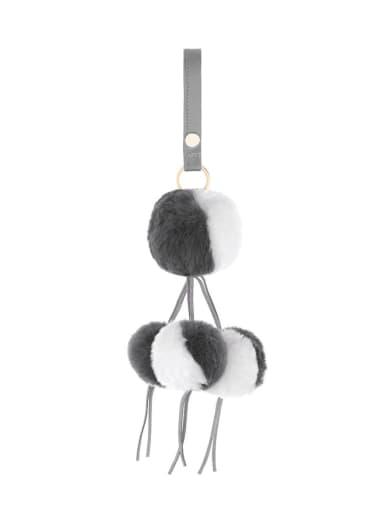 Grey k68127 Alloy Leather Rabbit fur wrist Key Chain