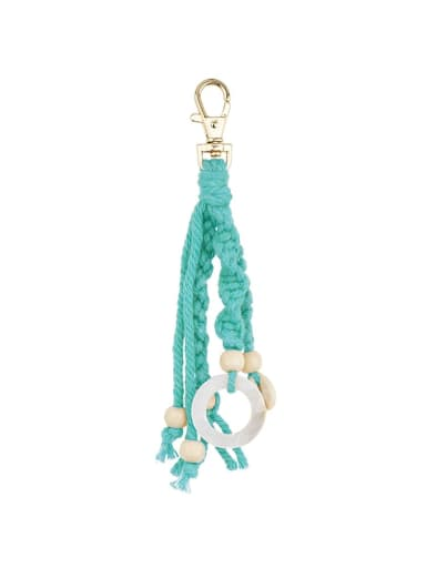 Alloy Shell Cotton Rope  Round Artisan Hand-Woven  Bag Pendant