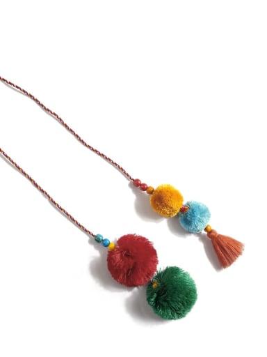 Orange color k68110 Bead Cotton Rope  Tassel Artisan Hand-Woven  Bag Pendant