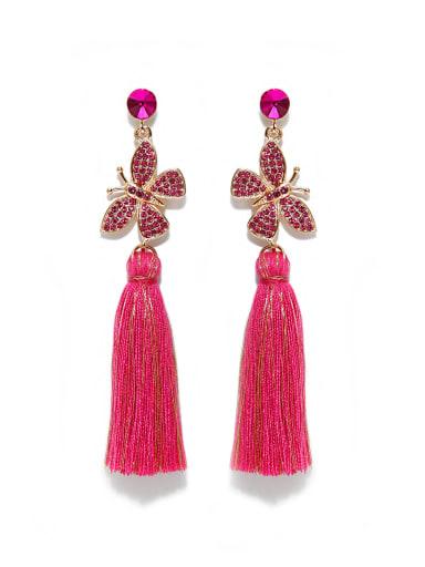 E68807 Alloy Rhinestone Cotton Rope  Tassel Bohemia Hand-Woven Drop Earring
