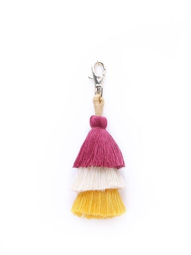 Red color k68047 Alloy Cotton Rope Tassel Bohemia Hand-Woven Bag Pendant
