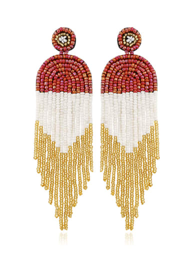 Bead Multi Color Tassel Bohemia Hand-woven Drop Earring