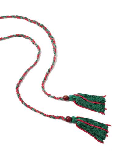 N70241 Bead Cotton Rope Cotton Tassel Artisan Long Belt/ Headband /Strand Necklace