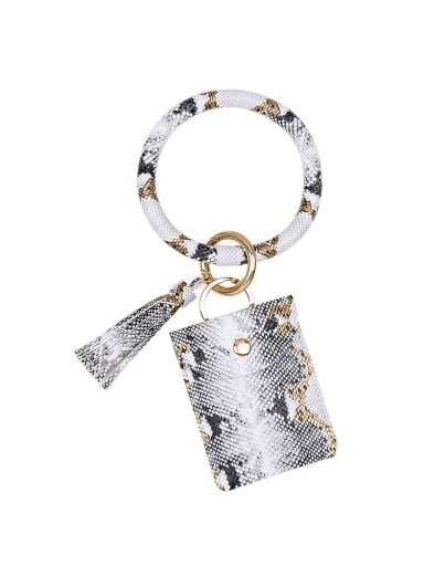 White k68170 Alloy Leather Serpentine Coin Purse Hand ring/Key Chain