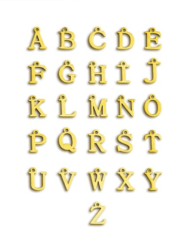 Gold Color Stainless steel 26 letters pendant 10MMx12MM