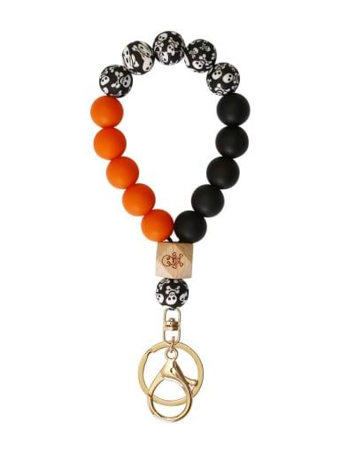 K orange Silicone Beads + Skull / leopard Beech Bracelet /Key Chain