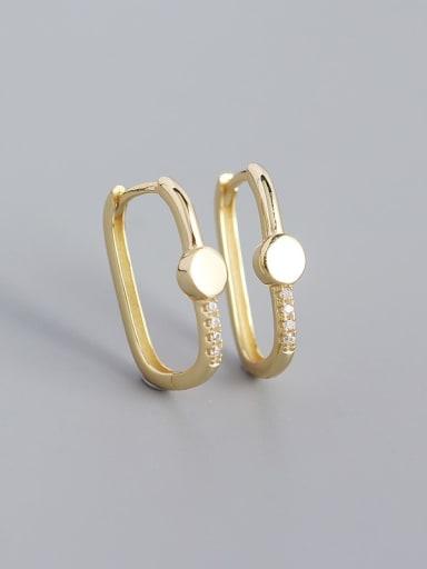 Round (yellow gold) 925 Sterling Silver Cubic Zirconia Geometric Minimalist Huggie Earring