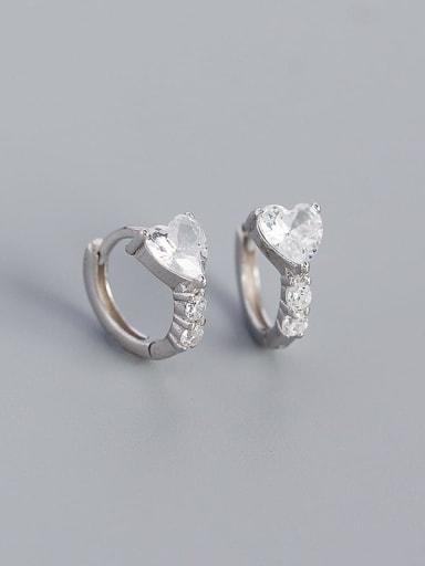 Platinum 925 Sterling Silver Cubic Zirconia Heart Minimalist Huggie Earring