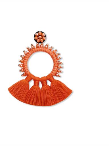 Red e68832 Alloy Bead Cotton Rope Tassel Bohemia Hand-Woven Drop Earring