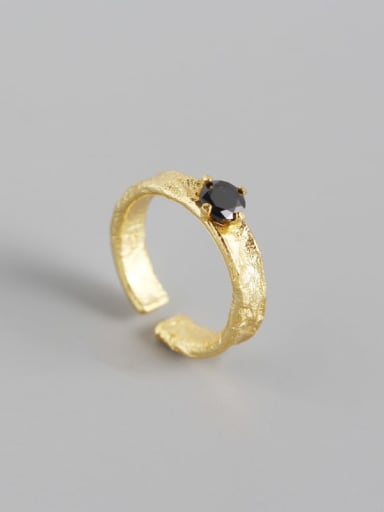 Gold 925 Sterling Silver Rhinestone Geometric Classic Solitaire Ring