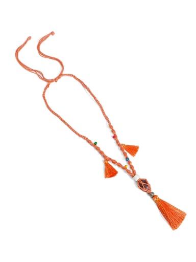 Orange n70247 Bead Cotton Rope  Natural stone Tassel Artisan Hand-Woven Long Strand Necklace