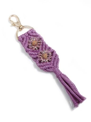 Purple k68191 Alloy Cotton Rope Tassel Bohemia Hand-Woven Bag Pendant