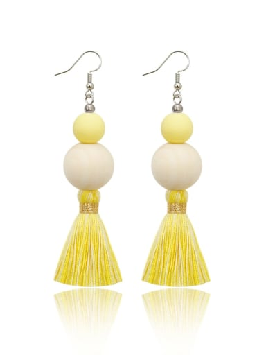 Yellow e68837 Alloy Wooden beads  Cotton Rope  Tassel Bohemia Hand-Woven Drop Earring