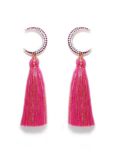 Rose e68806 Alloy Cotton Rope Tassel Bohemia Hand-Woven  Drop Earring