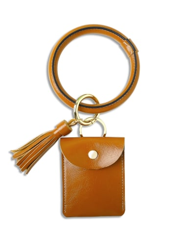 Coffee k68198 Alloy Leather Coin purse Hand Ring Key Chain