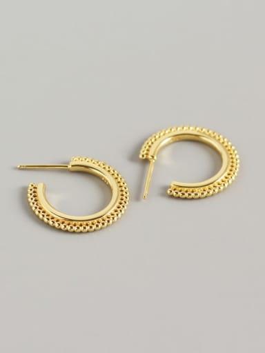 Gold 925 Sterling Silver Geometric Trend Hook Earring