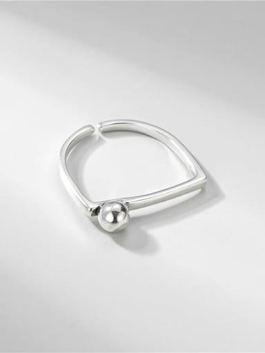 Bead ring 925 Sterling Silver Rhinestone Flower Vintage Band Ring