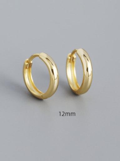 12mm gold 925 Sterling Silver Geometric Minimalist Huggie Earring