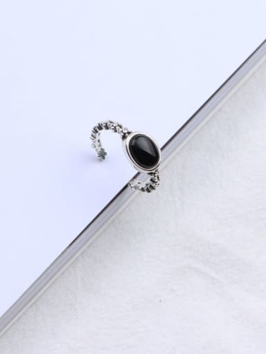 925 Sterling Silver Carnelian Black Oval Trend Solitaire Ring