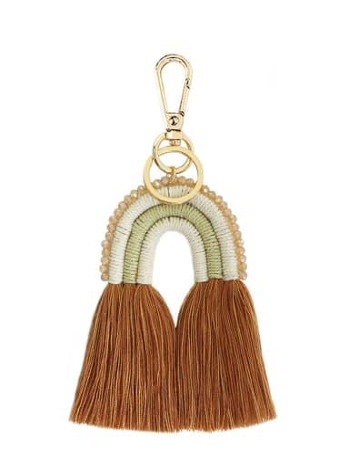 Coffee k68205 Alloy Bead Cotton Rope Rainbow Hand-Woven Bohemia Bag Pendant