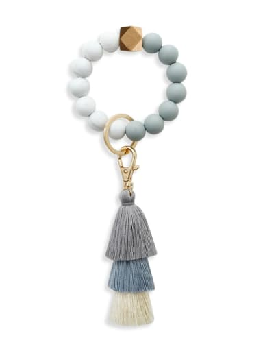 White marble k68228 Alloy  Cotton Rope Silicone Bead Tassel Bracelet /Key Chain